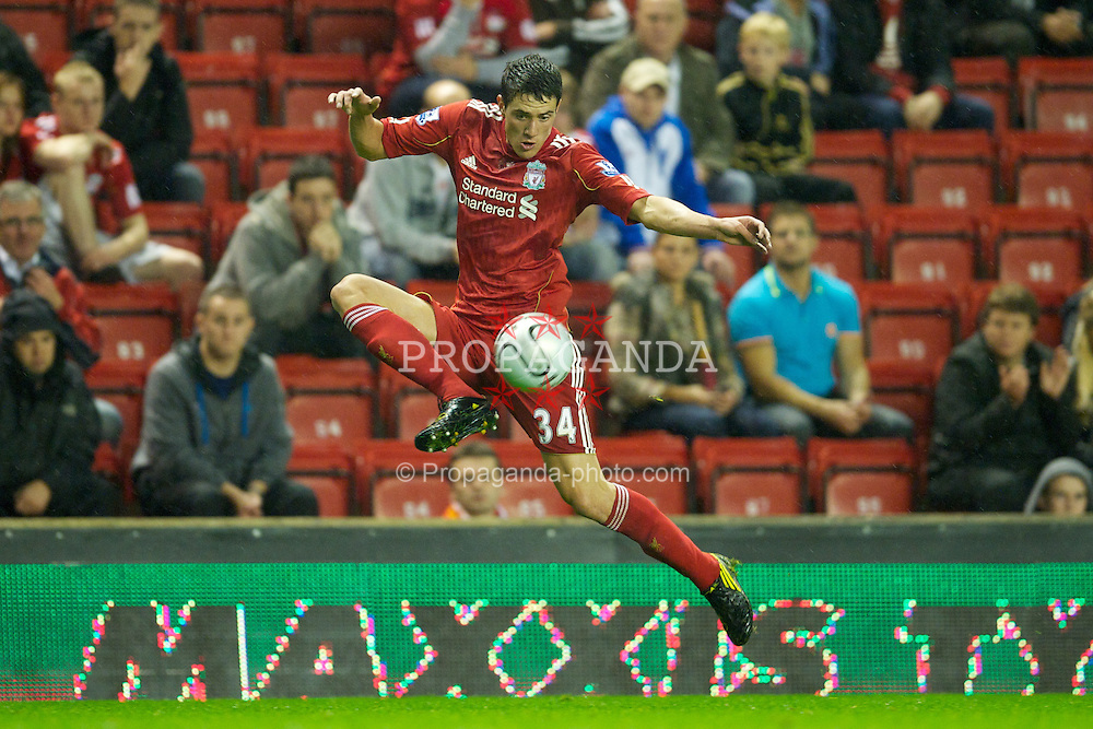 LIVERPOOL, ENGLAND - Wednesday, September 22, 2010: Liverpool's Martin Kelly in action against Northampton Town during the Football League Cup 3rd Round match at Anfield. (Photo by David Rawcliffe/Propaganda)