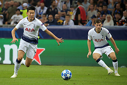 September 18, 2018 - Milan, Milan, Italy - Son Heung-Min #7 of Tottenham Hotspur during  the UEFA Champions League group B match between FC Internazionale and Tottenham Hotspur at Stadio Giuseppe Meazza on September 18, 2018 in Milan, Italy. (Credit Image: © Giuseppe Cottini/NurPhoto/ZUMA Press)