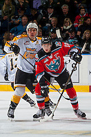 KELOWNA, CANADA - DECEMBER 3: Tanner Kaspick #16 of the Brandon Wheat Kings back checks Rodney Southam #17 of the Kelowna Rockets on December 3, 2016 at Prospera Place in Kelowna, British Columbia, Canada.  (Photo by Marissa Baecker/Shoot the Breeze)  *** Local Caption ***