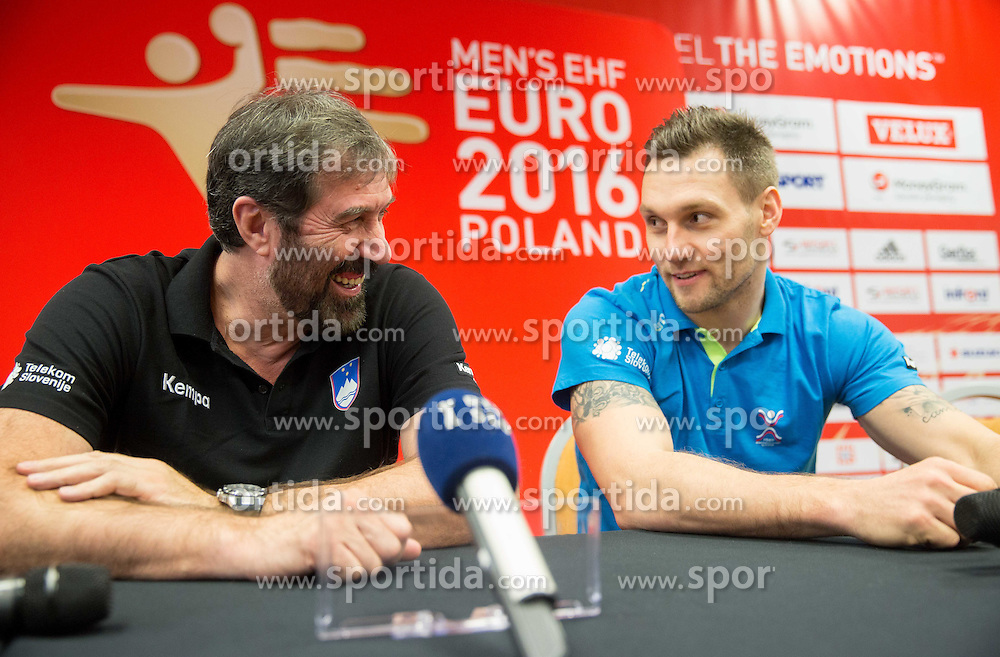 Veselin Vujovic, head coach of Slovenia and Luka Zvizej during press conference of Team Slovenia on Day 1 of Men's EHF EURO 2016, on January 15, 2016 in Hotel Mercure Wrocław Centrum, Wroclaw Poland. Photo by Vid Ponikvar / Sportida