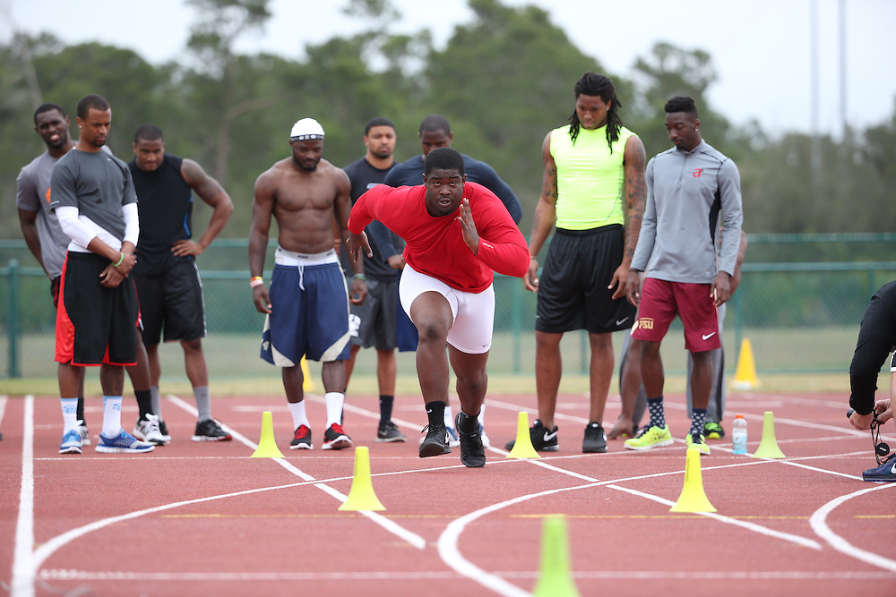 FEB  5 2014: Timmy Jernigan, Defensive Lineman from Florida State  trains for the NFL Scouting Combing with Coach Tom Shaw at his facility at Disney's Wide World of Sports in Orlando, Florida. Photo by Tom Hauck.
