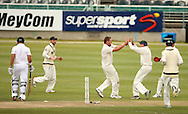 Australian players celebrate the wicket of Jacques Rudolph during Day 2 of the Sunfoil Test Series between South Africa and Australia played at Sahara Park Newlands, Cape Town, South Africa on the 10th November2011. Photo by Jacques Rossouw/SPORTZPICS