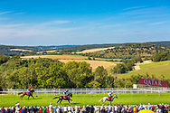 Horses go to post before the Qatar Sussex Stakes at the Qatar Goodwood Festival.<br /> Picture date: Wednesday August 1, 2018.<br /> Photograph by Christopher Ison ©<br /> 07544044177<br /> chris@christopherison.com<br /> www.christopherison.com