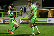 Forest Green Rovers Liam Shephard(2) scores a goal 2-0 and celebrates with Forest Green Rovers Carl Winchester(7) during the EFL Sky Bet League 2 match between Forest Green Rovers and Tranmere Rovers at the New Lawn, Forest Green, United Kingdom on 23 October 2018.