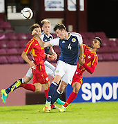 Scotland's John Souttar heads clear from FYR Macedonia's Daniel Avramovski during Scotland Under-21 v FYR Macedonia,  UEFA Under 21 championship qualifier  at Tynecastle, Edinburgh. Photo: David Young<br /> <br />  - © David Young - www.davidyoungphoto.co.uk - email: davidyoungphoto@gmail.com