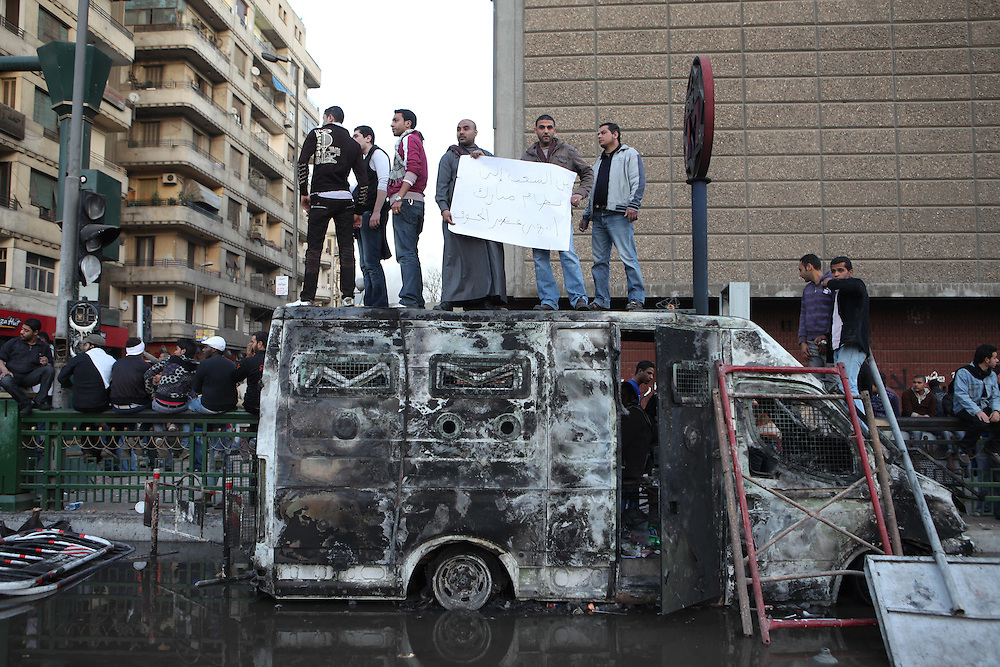 Protesters at Tahrir Square in Cairo call for the ouster of President Hosni Mubarak.