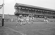 GAA All Ireland Minor Football final Cork V. Offaly 27th September 1964 at Croke Park..Offaly backs gather the ball from free and clear ..27.9.1964  27th September 1964