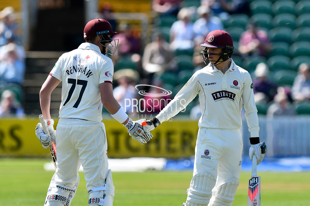 50 for Matt Renshaw - Matt Renshaw of Somerset celebrates scoring a half century and is congratulated by Tom Abell of Somerset during the Specsavers County Champ Div 1 match between Somerset County Cricket Club and Worcestershire County Cricket Club at the Cooper Associates County Ground, Taunton, United Kingdom on 20 April 2018. Picture by Graham Hunt.