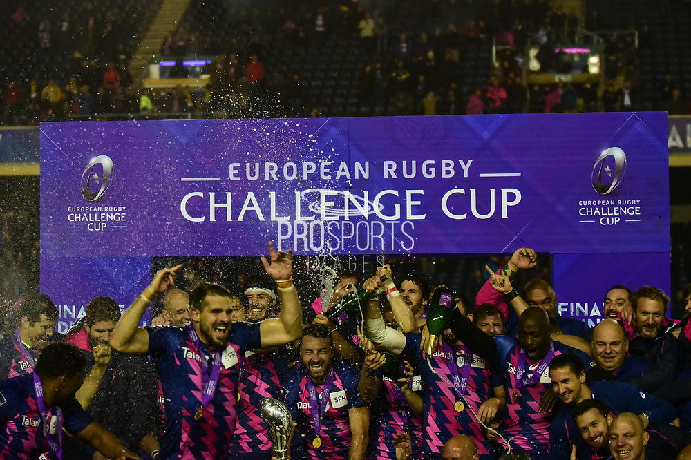 Stade Francais celebrate winning the European Rugby Challenge Cup match between Gloucester Rugby and Stade Francais at BT Murrayfield, Edinburgh, Scotland on 12 May 2017. Photo by Kevin Murray.