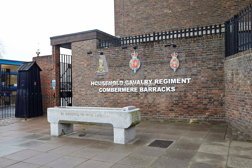 The main entrance to Combermere barracks where HRH The Princess Royal the Regimental Colonel and Gold Stick in Waiting to The Queen for the Blues and Royals, presented Afghan medals to soldiers of the Household Cavalry. Wednesday, 4th December 2013. Picture by i-Images