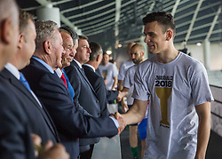 Filip Uremovic of NK Olimpija receiving congratulations from Milan Mandaric, president of Olimpija at Trophy ceremony after winning during football match between NK Aluminij and NK Olimpija Ljubljana in the Final of Slovenian Football Cup 2017/18, on May 30, 2018 in SRC Stozice, Ljubljana, Slovenia. Photo by Vid Ponikvar / Sportida