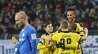 Fotball<br /> Tyskland<br /> 02.03.2016<br /> Foto: Witters/Digitalsport<br /> NORWAY ONLY<br /> <br /> 0:2 Jubel v.l. Konstantin Rausch, Pierre-Emerick Aubameyang, Matthias Ginter, Torschuetze Erik Durm (Dortmund) <br /> Darmstadt, 02.03.2016, Fussball Bundesliga, SV Darmstadt 98 - Borussia Dortmund 0:2