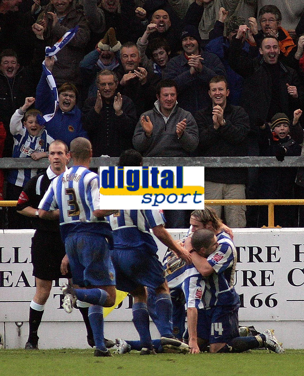 Photo: Paul Thomas.<br /> Chester City v Nottingham Forest. The FA Cup.<br /> 03/12/2005.<br /> <br /> Chester celebrate Ryan Lowe's penalty goal.