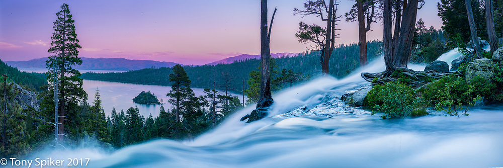 Sunset at Emerald Bay - A long exposure panoramic photograph of Emerald Bay at sunset