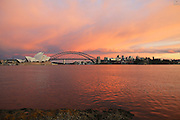 A red dawn greets the Sydney City Skyline