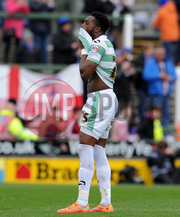 Dejection for Yeovil Town's Gozie Ugwu - Photo mandatory by-line: Harry Trump/JMP - Mobile: 07966 386802 - 03/04/15 - SPORT - FOOTBALL - Sky Bet League One - Yeovil Town v Chesterfield - Huish Park, Yeovil, England.