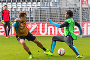 ALKMAAR - 15-02-2017, AZ - Olympique Lyon, AFAS Stadion, training, AZ speler Mats Seuntjens, AZ speler Levi Garcia
