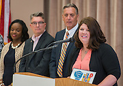 Keri Fovargue comments during a Children at Risk awards presentation to area schools at Pilgrim Academy, June 6, 2016.