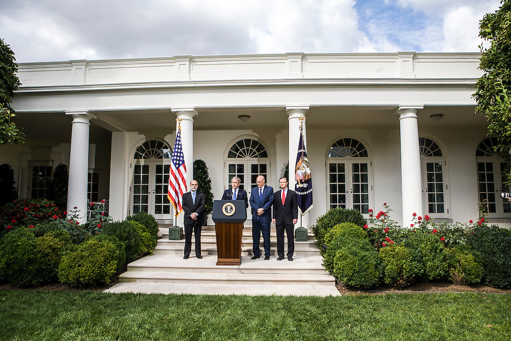 President George W. Bush delivers a statement on the economy from the White House Rose Garden, flanked by Federal Reserve Chairman Ben Bernanke,  Treasury Secretary Henry Paulson, and Securities and Exchange Commission Chairman Christopher Cox on Friday, September 19, 2008 in Washington, DC. Brendan Hoffman for the New York Times