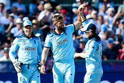 Liam Plunkett of England celebrates with teammates after taking the wicket of Tom Latham of New Zealand - Mandatory by-line: Robbie Stephenson/JMP - 03/07/2019 - CRICKET - Emirates Riverside - Chester-le-Street, England - England v New Zealand - ICC Cricket World Cup 2019 - Group Stage