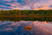 Reflection of clouds in northern lake at sunrise.<br />