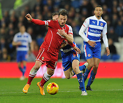 Reading's Alex Pearce is sent off for fouling Cardiff City's Adam Le Fondre - Photo mandatory by-line: Dougie Allward/JMP - Mobile: 07966 386802 - 21/11/2014 - Sport - Football - Cardiff - Cardiff City Stadium - Cardiff City v Reading - Sky Bet Championship
