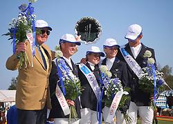 Team Sweden with chef d'equipe Gösta Asker, Rolf-Göran Bengtsson, Helena Lundbäck, Malin Baryard and Peder Fredricson<br /> FEI Meydan Nations Cup - Falsterbo 2010<br /> © Hippo Foto - Lotta Gyllensten