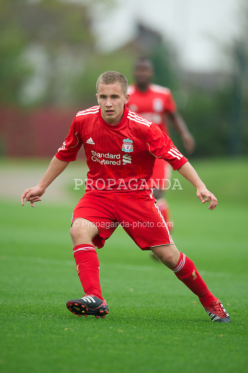 LIVERPOOL, ENGLAND - Friday, October 14, 2011: Liverpool's Joshua Sumner in action against Manchester United during the FA Premier League Academy match at the Kirkby Academy. (Pic by David Rawcliffe/Propaganda)
