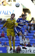 Reading, England, Nationwide Division One Football Reading v Preston North End, Brian O'Neill [left] and Nicky Forster challenge for the high ball. at the Madejski Stadium, on  09/10/1999  [Credit  Peter Spurrier/Intersport Images]..
