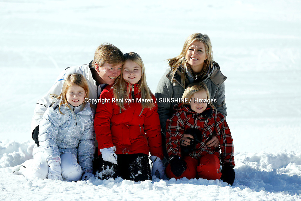 Dutch Royal Family, (in the photo) Prince WIllem-Alexander, Princess Maxima and their three daughters Princesses Alexia, Amalia and Ariane, and (not in shot)  Queen Beatrix on their yearly wintersport vacation in Lech, Austria, February 18, 2013. Photo by Reni van Maren / SUNSHINE / i-Images...UK ONLY