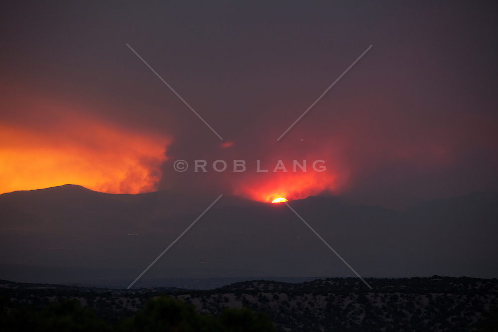 sunset during the Las Conchas Fire over Los Alamos in New Mexico