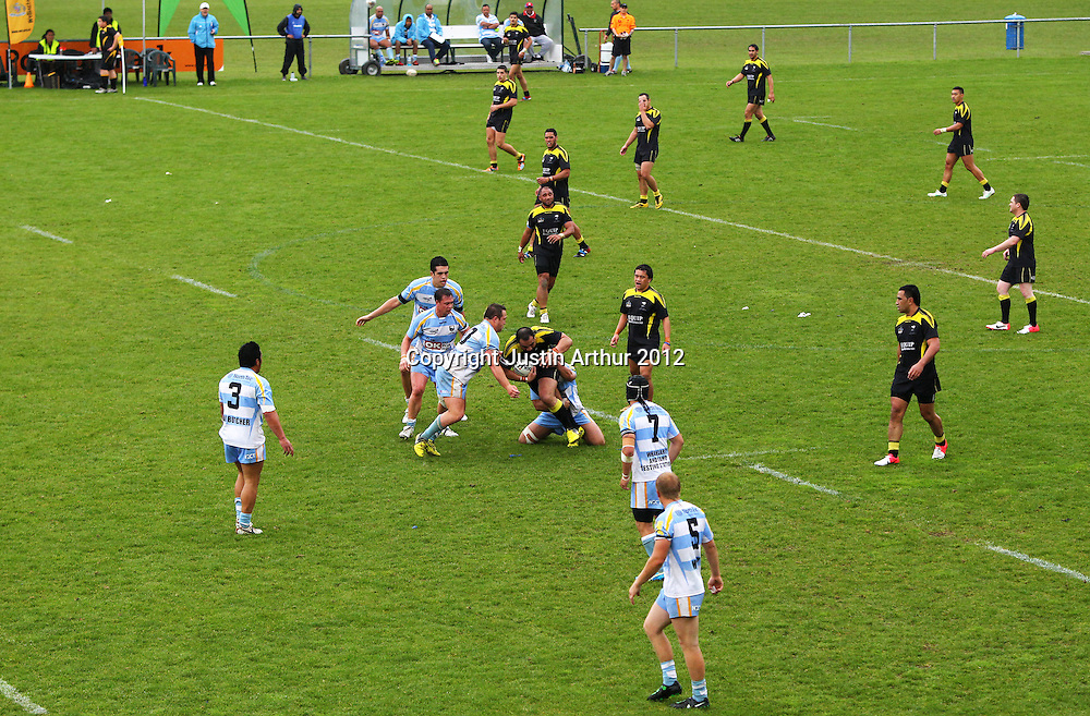 General view of play during the Pirtek National Rugby League Premiership 2012 - Wellington Orcas v Northern Swords at Porirua Park, Porirua, New Zealand on Sunday 16 August 2012. Photo: Justin Arthur / photosport.co.nz