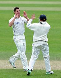 New Zealand's Ben Wheeler celebrates the wicket of Somerset's Johann Myburgh Photo mandatory by-line: Harry Trump/JMP - Mobile: 07966 386802 - 10/05/15 - SPORT - CRICKET - Somerset v New Zealand - Day 3- The County Ground, Taunton, England.