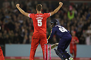 Lancashires Toby Lester celebrates the final ball and a win during the Vitality T20 Blast North Group match between Lancashire County Cricket Club and Yorkshire County Cricket Club at the Emirates, Old Trafford, Manchester, United Kingdom on 20 July 2018. Picture by George Franks.