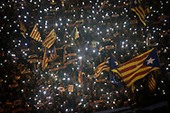 BARCELONA, SPAIN - NOVEMBER 11: Catalonia's Independence supporters march during a demonstration on November 11, 2017 in Barcelona, Spain. Independence movement associations and political parties called for a march to protest against the prison detentions of the revoked Catalan Government, on November 11, 2017 in Barcelona, Spain. (Photo by Etienne De Malglaive/Getty Images)