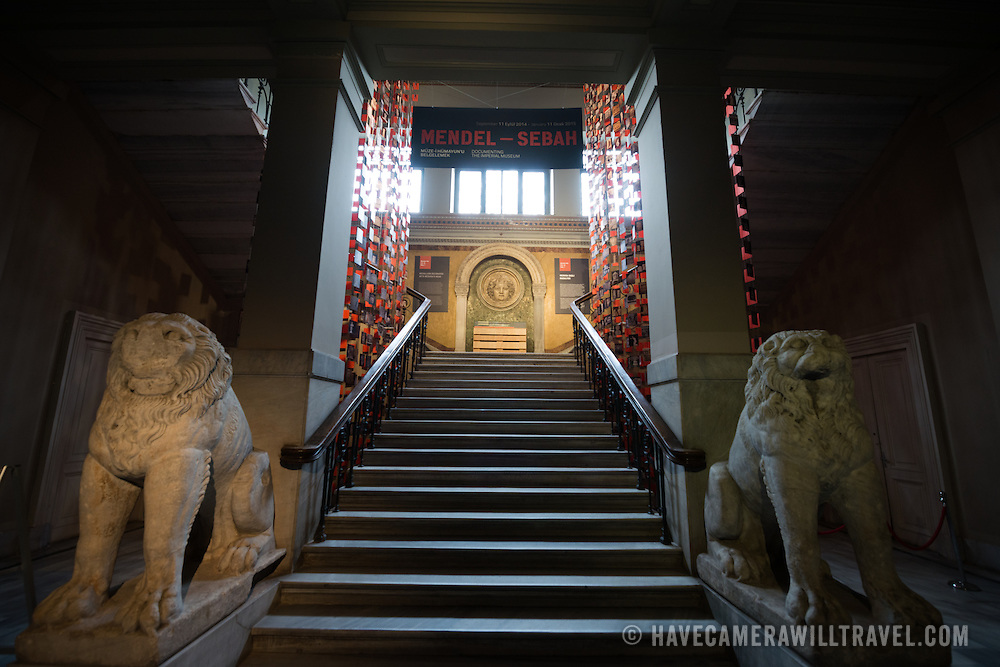 Stairwell leading up to a relief of Medusa, guarded by two lions, on display in the main building of the Istanbul Archaeology Museums. The Istanbul Archaeology Museums, housed in three buildings in what was originally the gardens of the Topkapi Palace in Istanbul, Turkey, holds over 1 million artifacts relating to Islamic art, historical archeology of the Middle East and Europe (as well as Turkey), and a building devoted to the ancient orient.