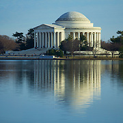 A D.C. icon - the Jefferson Memorial and it's reflection off the Potomac tidal basin.