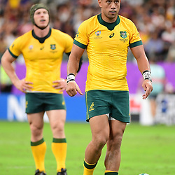 Christian LEALIIFANO of Australia lines up a penalty during the Rugby World Cup 2019 Quarter Final match between England and Australia on October 19, 2019 in Oita, Japan. (Photo by Dave Winter/Icon Sport) - Christian LEALIIFANO - Oita Stadium - Oita (Japon)