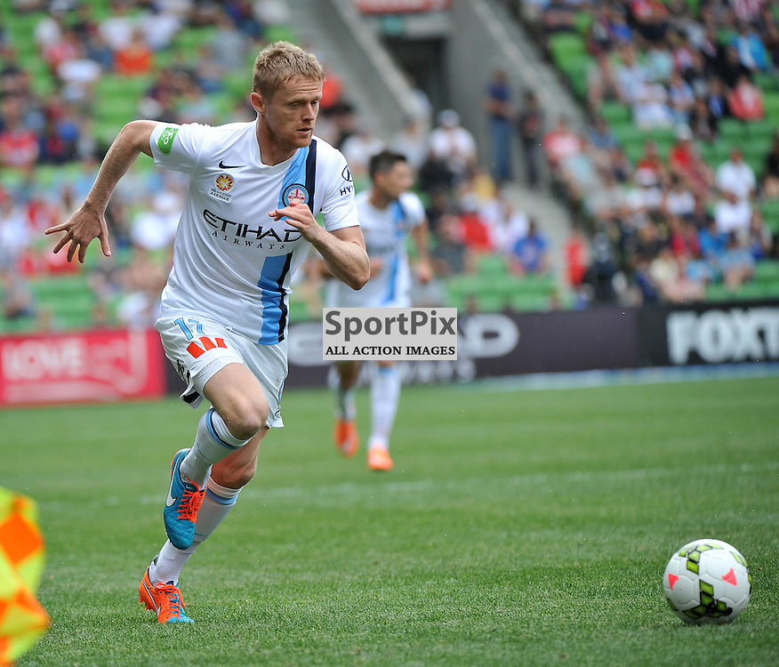 Damien Duff (Melbourne City) during the Hyundai A- League, round 2 match, between Melbourne City &amp; the Newcastle Jets held at Aami Park Stadium, Melbourne, Victoria on the 19th October 2014.<br /> WAYNE NEAL | SportPix.org.uk