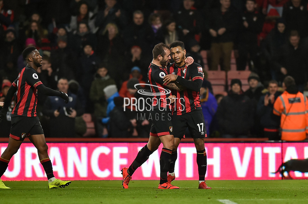 AFC Bournemouth Players Celebrate after AFC Bournemouth Forward, Josh King (17) scores a goal to make it 2-0 during the Premier League match between Bournemouth and West Ham United at the Vitality Stadium, Bournemouth, England on 19 January 2019.