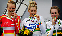 Sykkel<br /> UCI VM 2014<br /> Ponferrada Spania<br /> 22.09.2014<br /> Foto: PhotoNews/Digitalsport<br /> NORWAY ONLY<br /> <br /> Ponferrada - Spain  - wielrennen - cycling - radsport - cyclisme -  Pernille Mathiesen  - Macey Stewart (AUS)  - Anna-Leeza Hull pictured during  Championnats du Monde UCI CLM/ UCI TT World Championships (Women Juniors)  WC - Wereldkampioenschap Time Trial Individual