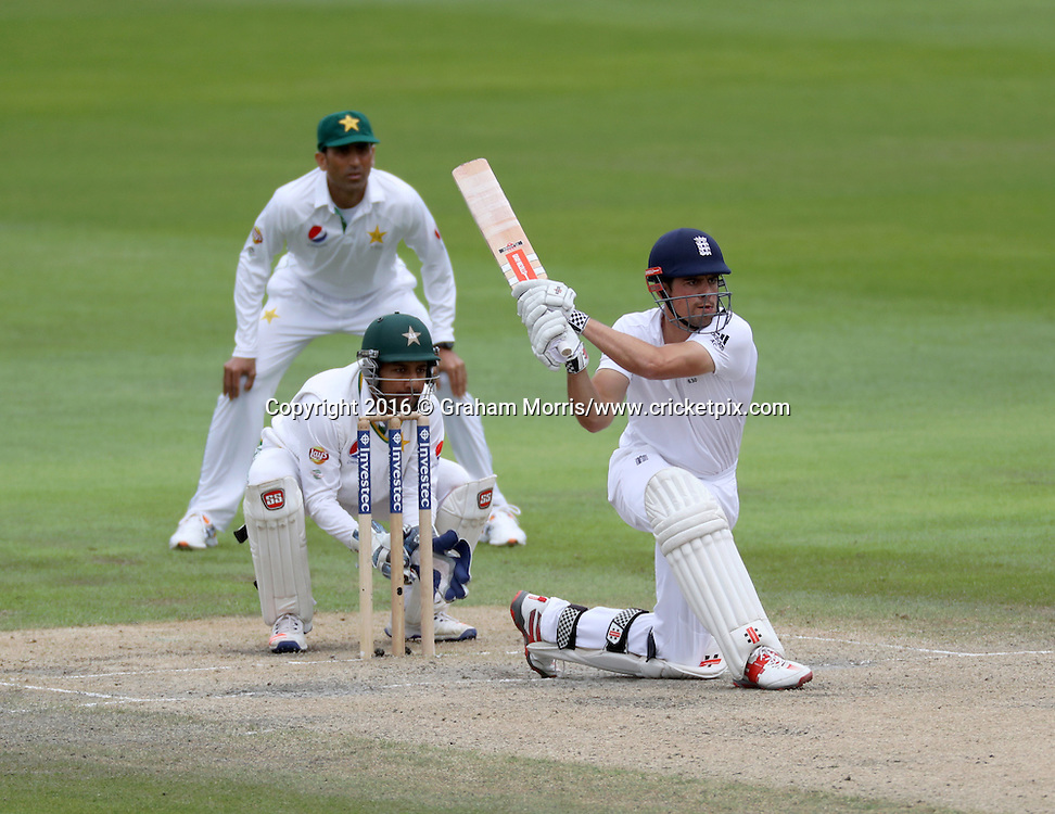 Alastair Cook bats during the second Investec Test Match between England and Pakistan at Old Trafford, Manchester. Photo: Graham Morris/www.cricketpix.com 25/7/16