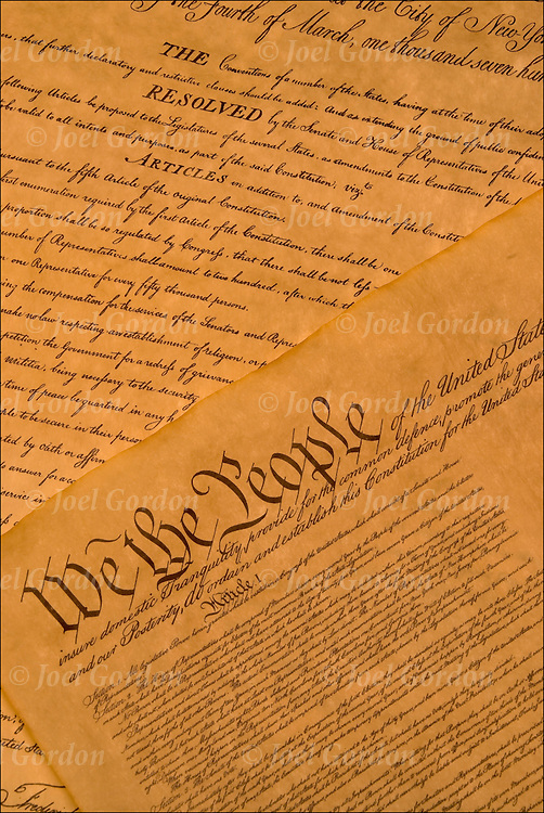 We the People, detail of the Constitution of the United States and the Bill of Rights