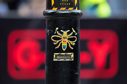 © Licensed to London News Pictures . 25/08/2017. Manchester , UK. Worker bee emblem on bollards in Manchester's Gay Village at the opening night of Manchester Pride's Big Weekend . The annual festival , which is the largest of its type in Europe , celebrates LGBT life . Photo credit: Joel Goodman/LNP