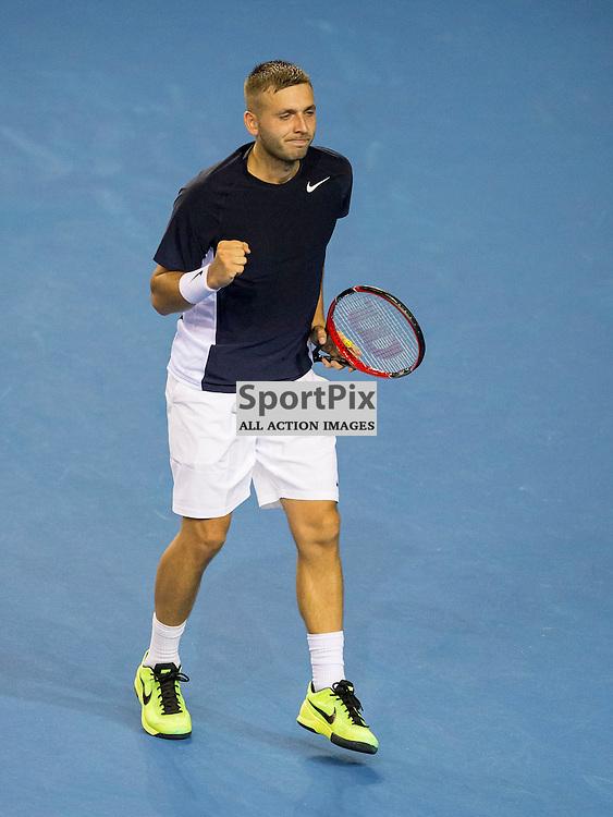 Davis Cup semi-final: Great Britain v Australia<br /> <br /> Dan Evans v Bernard Tomic during Friday's second singles Match.<br /> <br /> <br /> Picture: Alan Rennie