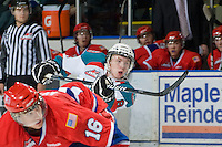 KELOWNA, CANADA, JANUARY 4: Colten Martin #8 of the Kelowna Rockets takes a shot on net as the Spokane Chiefs visit the Kelowna Rockets on January 4, 2012 at Prospera Place in Kelowna, British Columbia, Canada (Photo by Marissa Baecker/Getty Images) *** Local Caption ***
