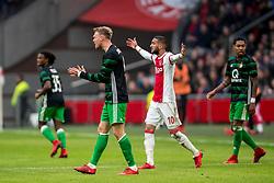 21-01-2018 NED: AFC Ajax - Feyenoord, Amsterdam<br /> Ajax was met 2-0 te sterk voor Feyenoord / Nicolai Jorgensen #9 of Feyenoord, Hakim Ziyech #10 of AFC Ajax