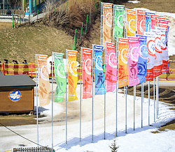17.03.2017, Ramsau am Dachstein, AUT, Special Olympics 2017, Wintergames, Langlauf, Divisioning 5 km Classic, im Bild Fahnen mit dem Special Olympics Logo // flags during the Cross Country Divisioning 5 km Classic at the Special Olympics World Winter Games Austria 2017 in Ramsau am Dachstein, Austria on 2017/03/17. EXPA Pictures © 2017, PhotoCredit: EXPA / Martin Huber