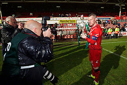 WREXHAM, WALES - Monday, May 2, 2016: The New Saints' captain goalkeeper Paul Harrison celebrates with the trophy after the 2-0 victory over Airbus UK Broughton during the 129th Welsh Cup Final at the Racecourse Ground. (Pic by David Rawcliffe/Propaganda)