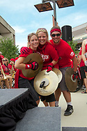 Members of the UW Marching Band pose for a photo at Badger Bash at Union South in 2012.